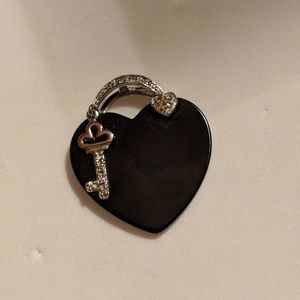 Black Heart and Cubic Zirconia Diamond Key Pendant